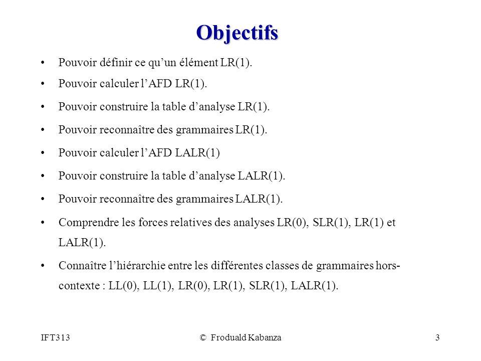 Objectifs Pouvoir définir ce qu'un élément LR(1).
