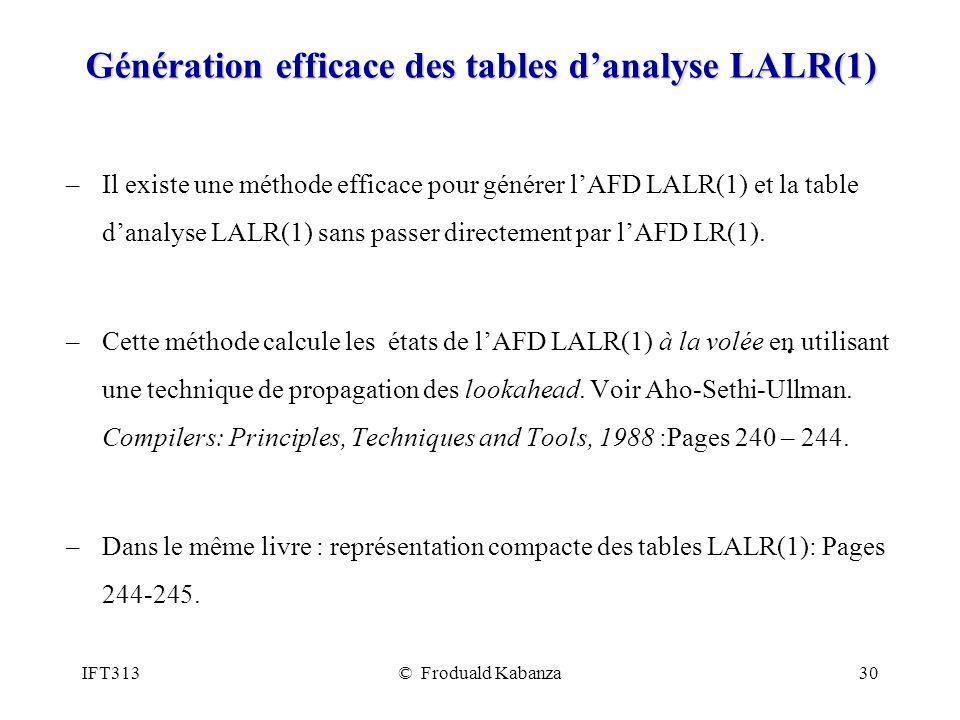Génération efficace des tables d'analyse LALR(1)