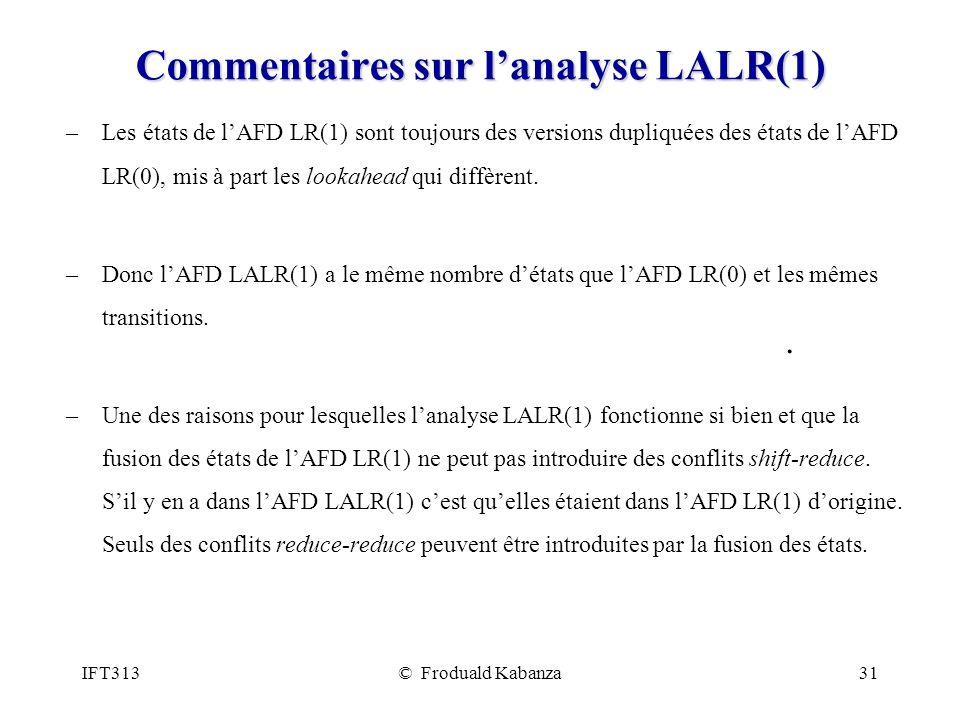 Commentaires sur l'analyse LALR(1)