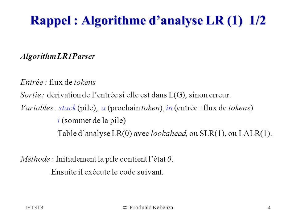 Rappel : Algorithme d'analyse LR (1) 1/2
