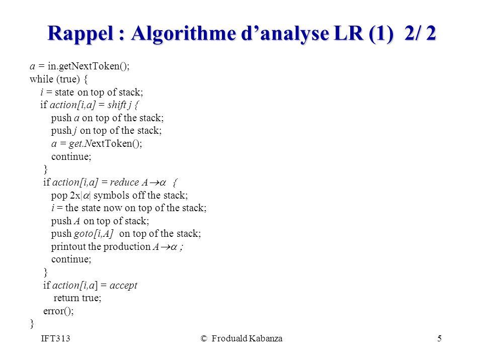 Rappel : Algorithme d'analyse LR (1) 2/ 2
