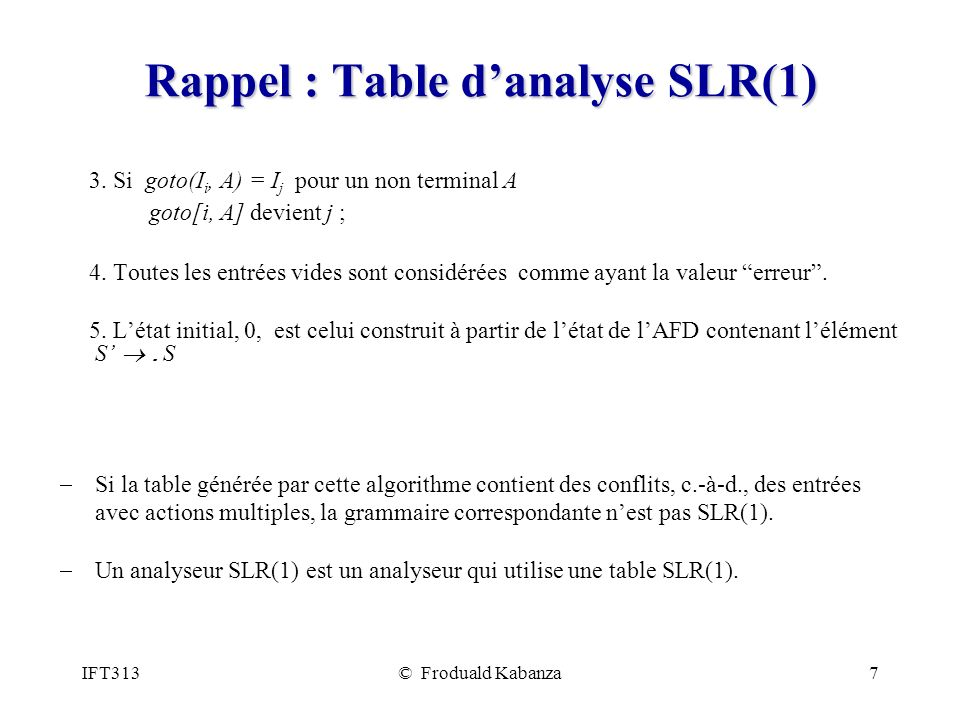 Rappel : Table d'analyse SLR(1)