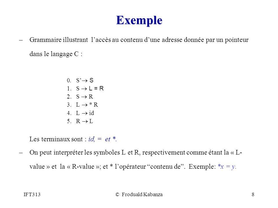 Exemple Grammaire illustrant l'accès au contenu d'une adresse donnée par un pointeur dans le langage C :