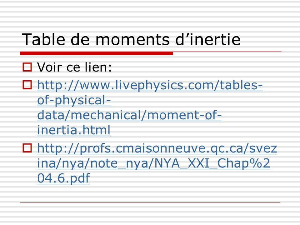 Table de moments d'inertie