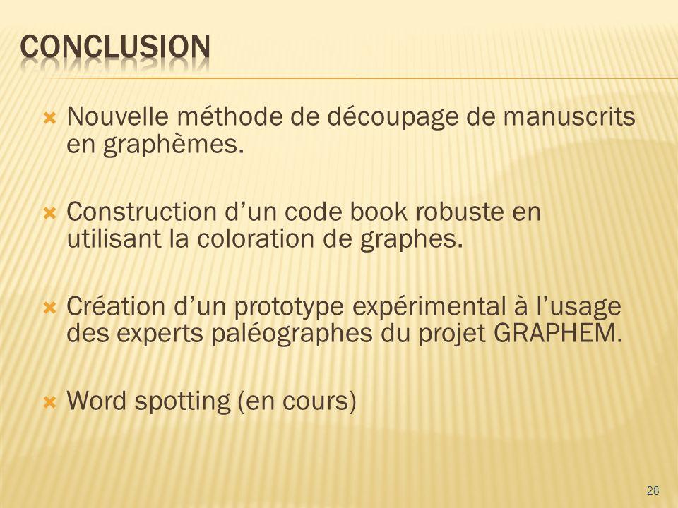 Conclusion Nouvelle méthode de découpage de manuscrits en graphèmes.