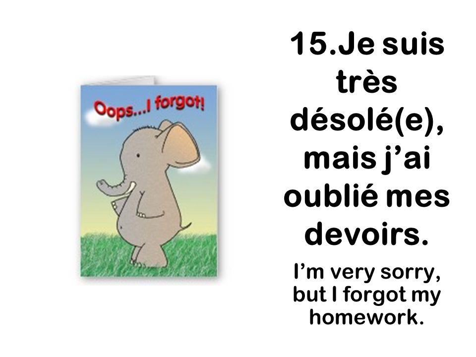 15.Je suis très désolé(e), mais j'ai oublié mes devoirs.