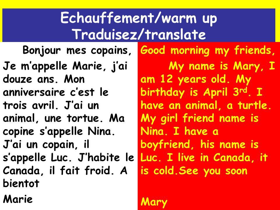 Echauffement/warm up Traduisez/translate