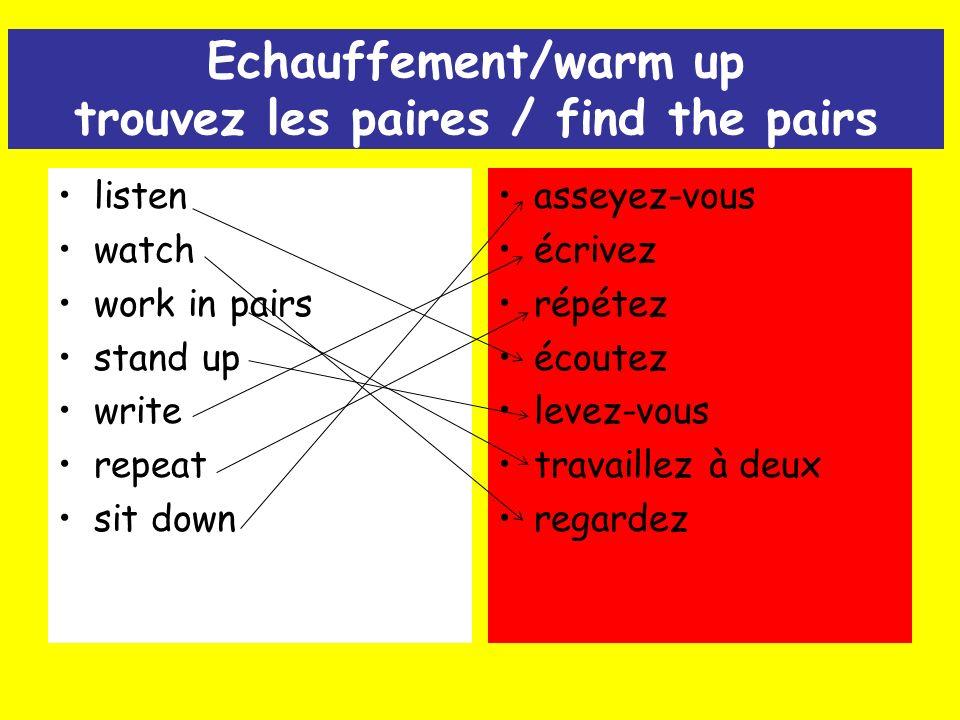 Echauffement/warm up trouvez les paires / find the pairs