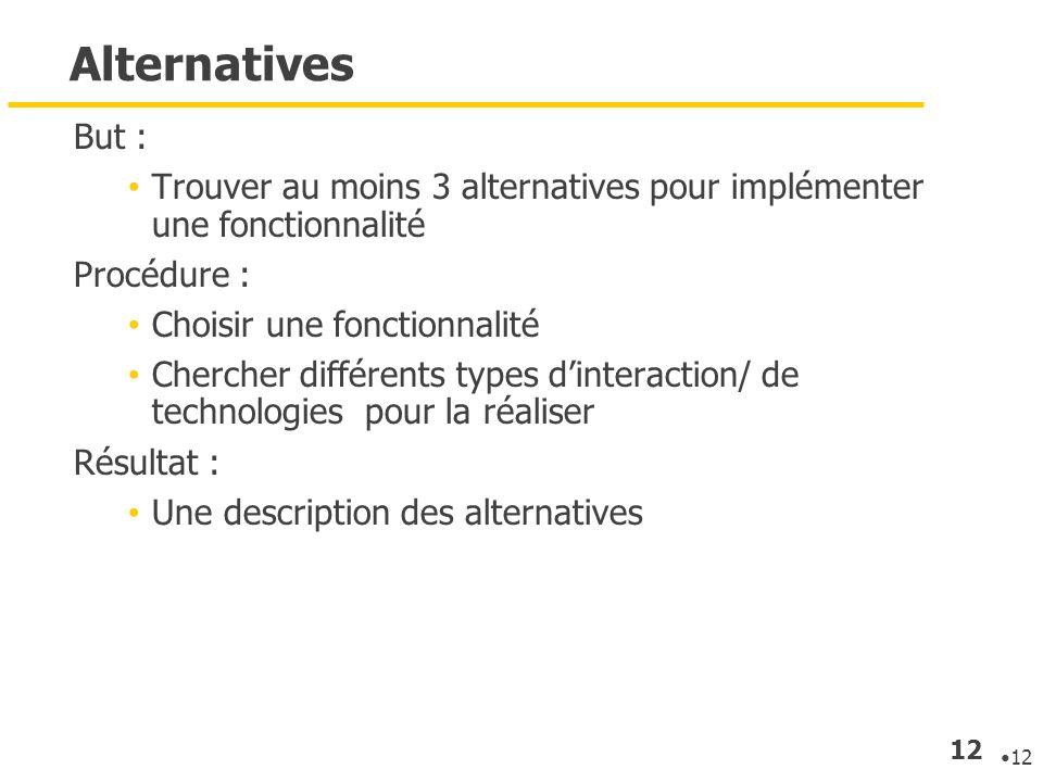 AlternativesBut : Trouver au moins 3 alternatives pour implémenter une fonctionnalité. Procédure : Choisir une fonctionnalité.