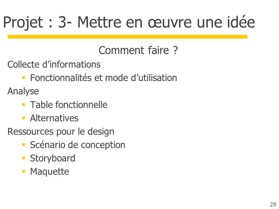 Projet : 3- Mettre en œuvre une idée