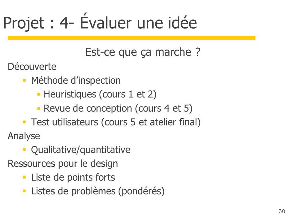 Projet : 4- Évaluer une idée
