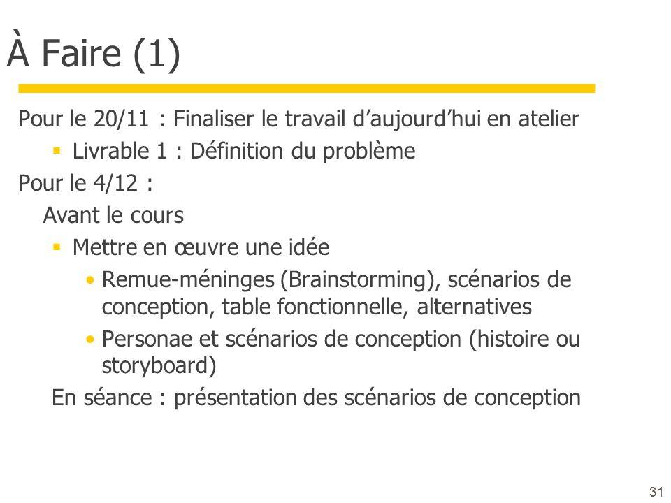 À Faire (1) Pour le 20/11 : Finaliser le travail d'aujourd'hui en atelier. Livrable 1 : Définition du problème.