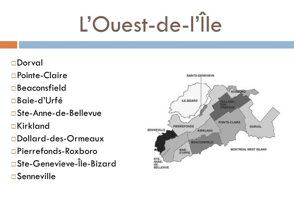 L'Ouest-de-l'Île Dorval Pointe-Claire Beaconsfield Baie-d'Urfé
