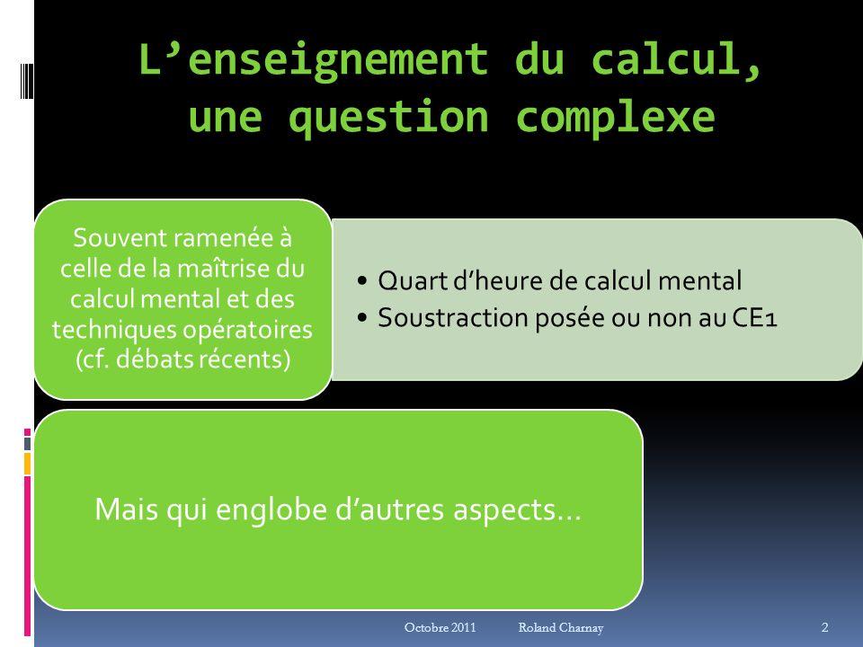 L'enseignement du calcul, une question complexe