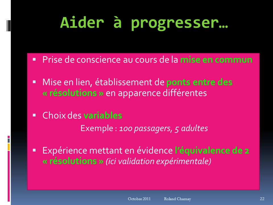 Exemple : 100 passagers, 5 adultes