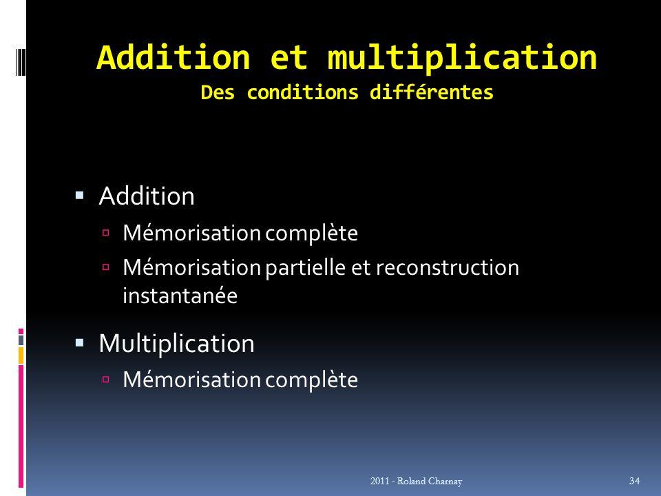 Addition et multiplication Des conditions différentes