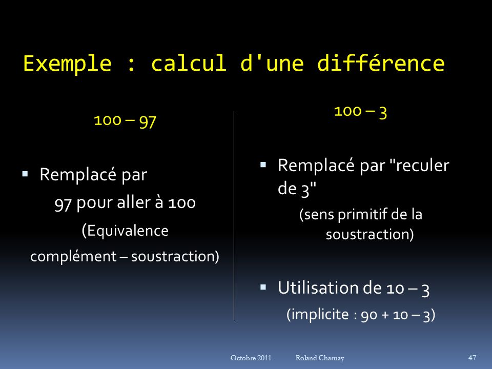 Exemple : calcul d une différence