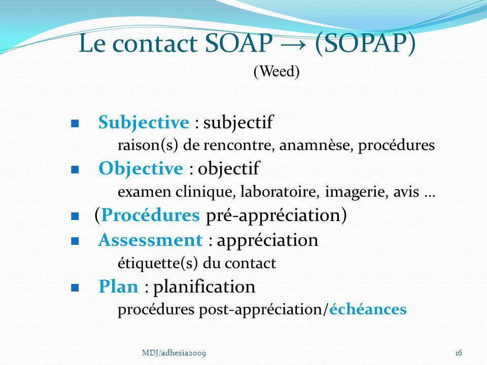 Le contact SOAP → (SOPAP)