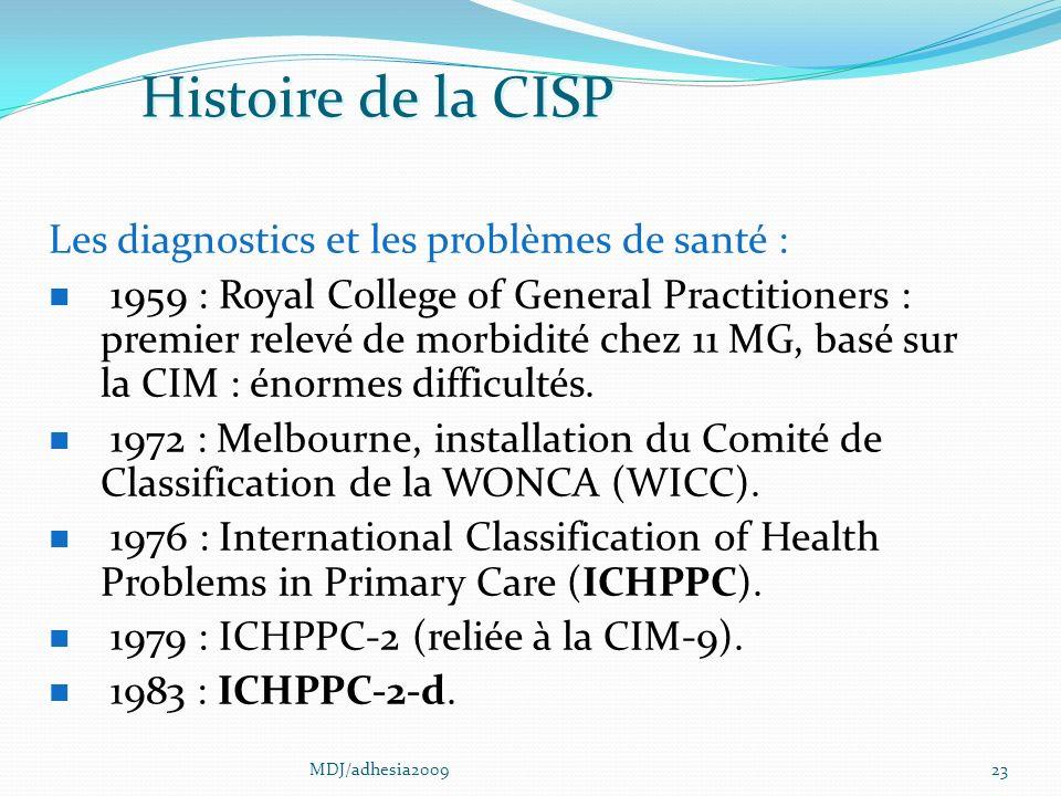 Histoire de la CISP Les diagnostics et les problèmes de santé :