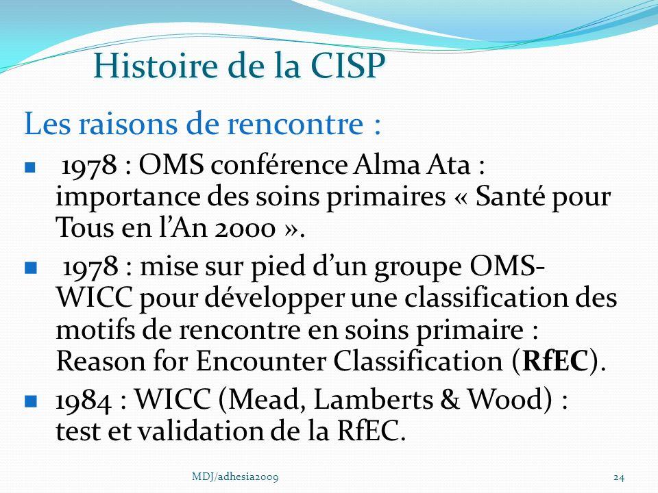 Histoire de la CISP Les raisons de rencontre :