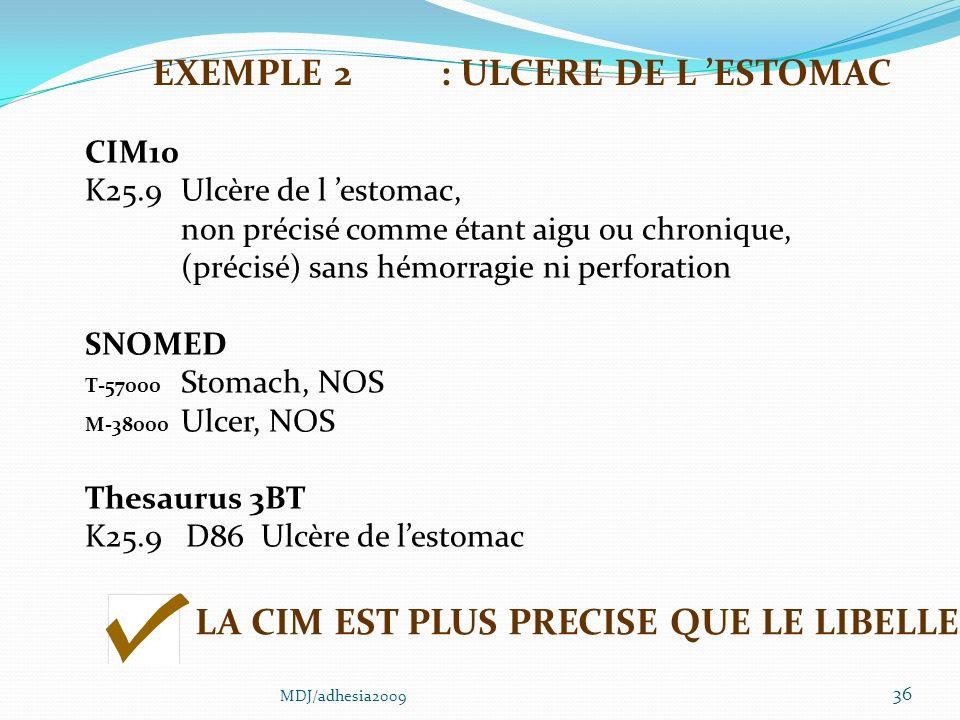 EXEMPLE 2 : ULCERE DE L 'ESTOMAC