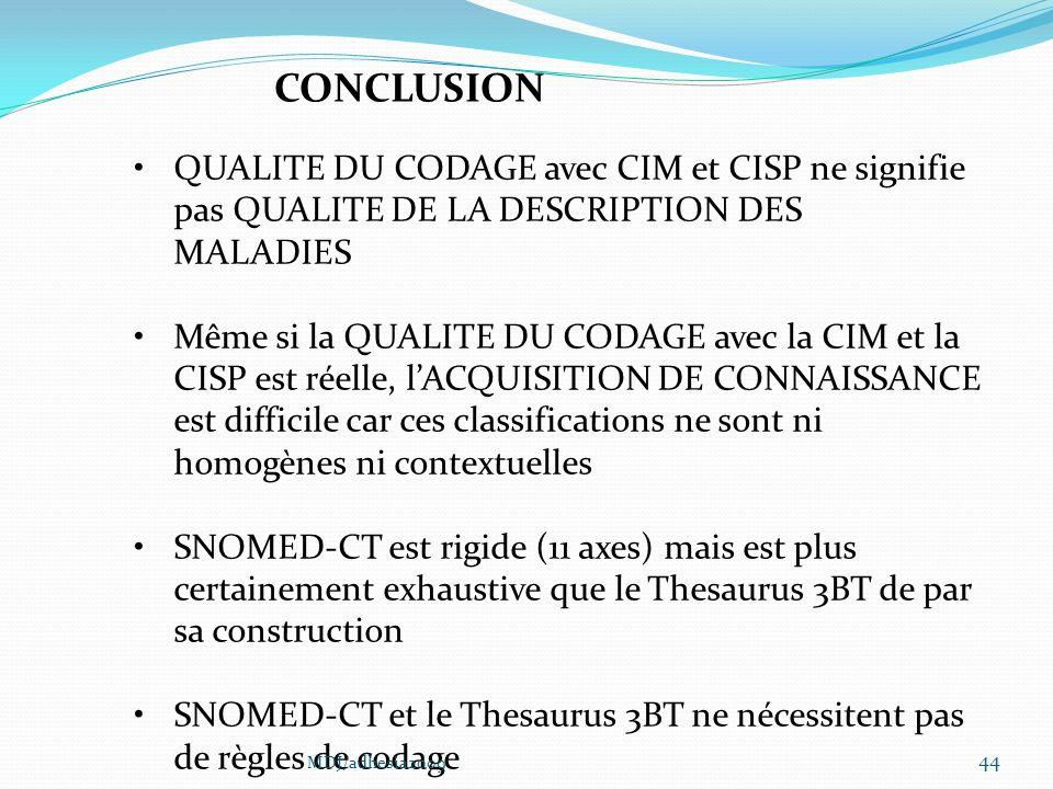 CONCLUSION QUALITE DU CODAGE avec CIM et CISP ne signifie pas QUALITE DE LA DESCRIPTION DES MALADIES.