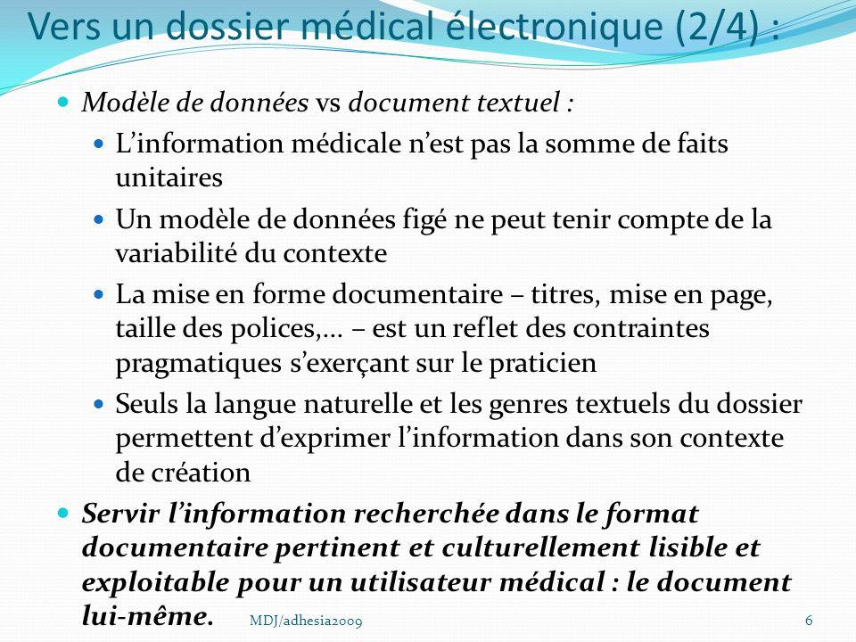 Vers un dossier médical électronique (2/4) :