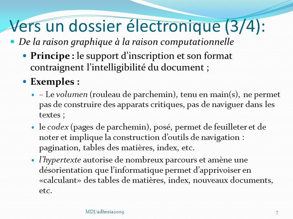 Vers un dossier électronique (3/4):