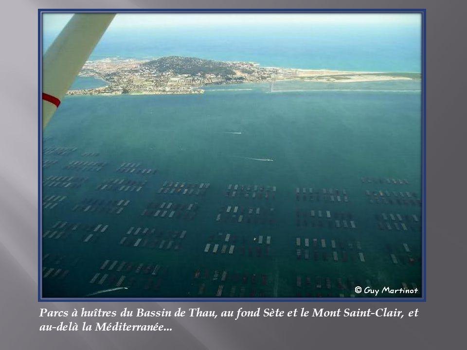 Parcs à huîtres du Bassin de Thau, au fond Sète et le Mont Saint-Clair, et au-delà la Méditerranée...