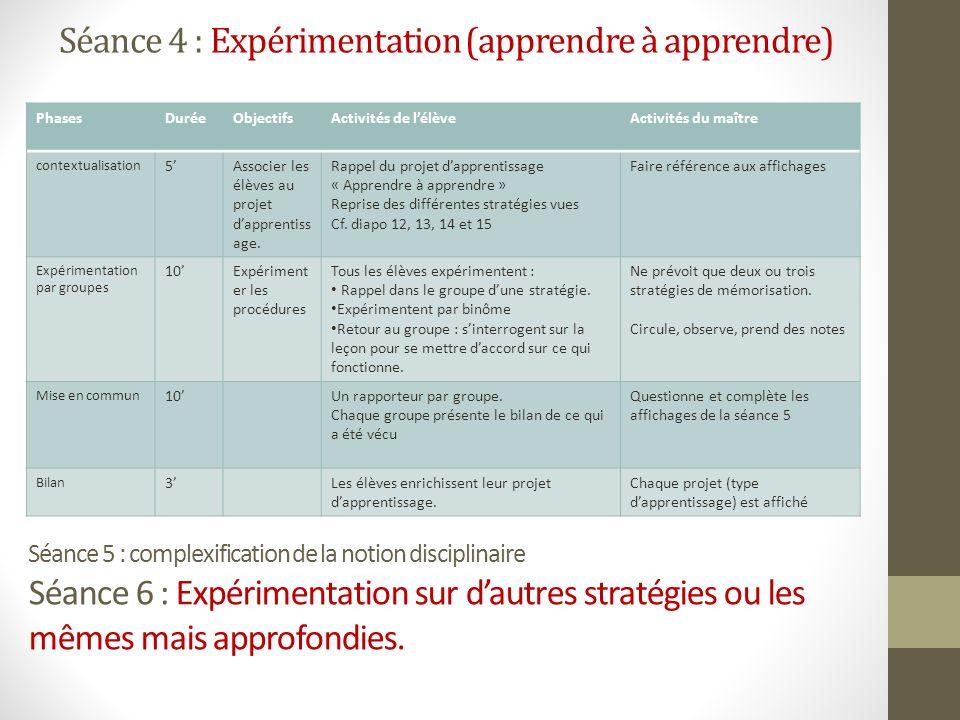 Séance 4 : Expérimentation (apprendre à apprendre)