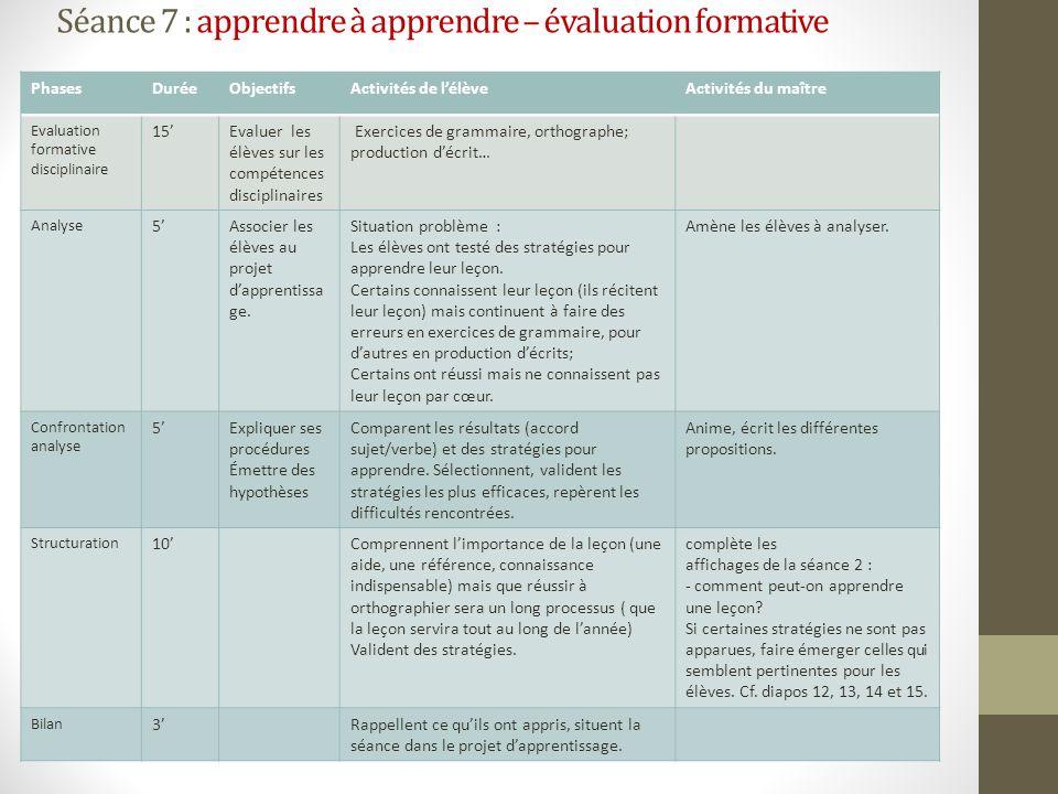 Séance 7 : apprendre à apprendre – évaluation formative