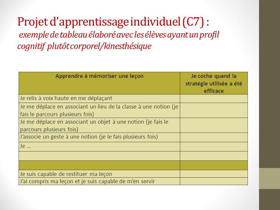 Projet d'apprentissage individuel (C7) : exemple de tableau élaboré avec les élèves ayant un profil cognitif plutôt corporel/kinesthésique