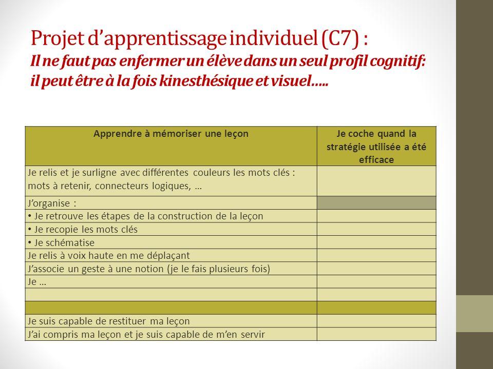 Projet d'apprentissage individuel (C7) : Il ne faut pas enfermer un élève dans un seul profil cognitif: il peut être à la fois kinesthésique et visuel…..