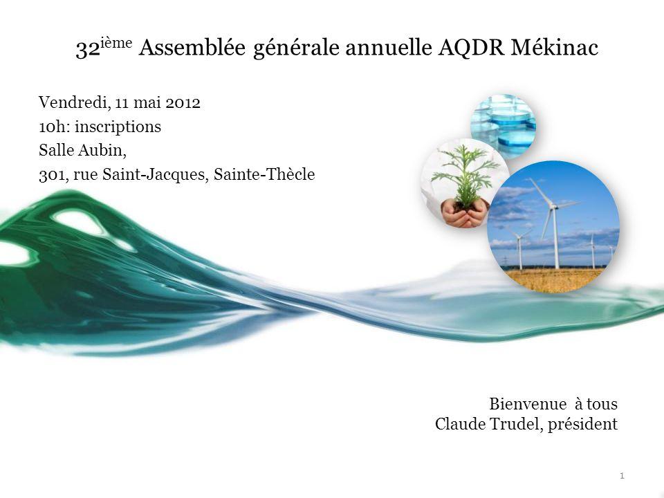 32ième Assemblée générale annuelle AQDR Mékinac