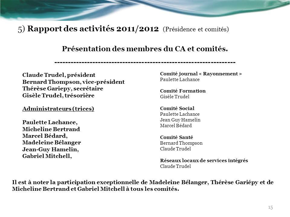 5) Rapport des activités 2011/2012 (Présidence et comités)
