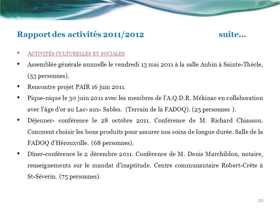 Rapport des activités 2011/2012 suite…