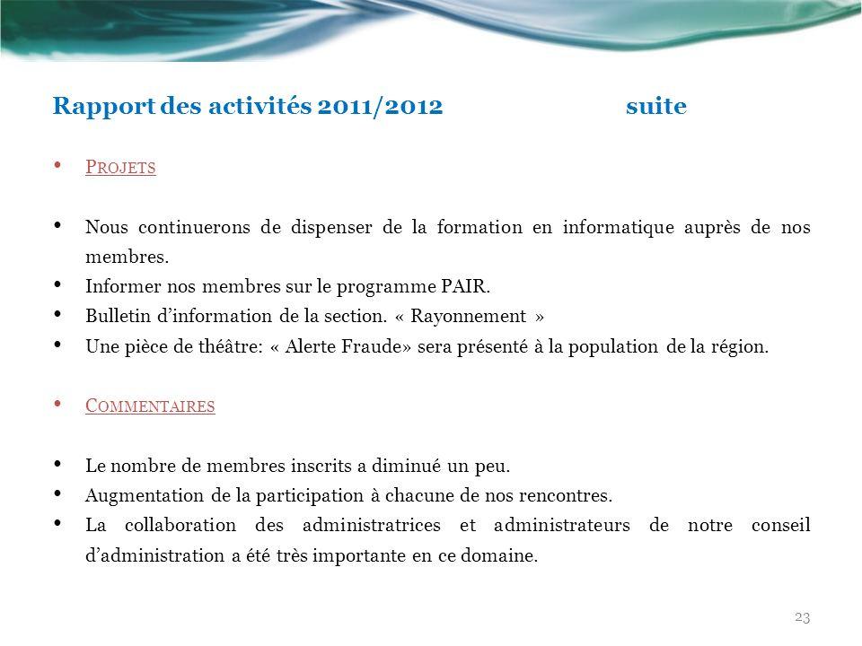 Rapport des activités 2011/2012 suite