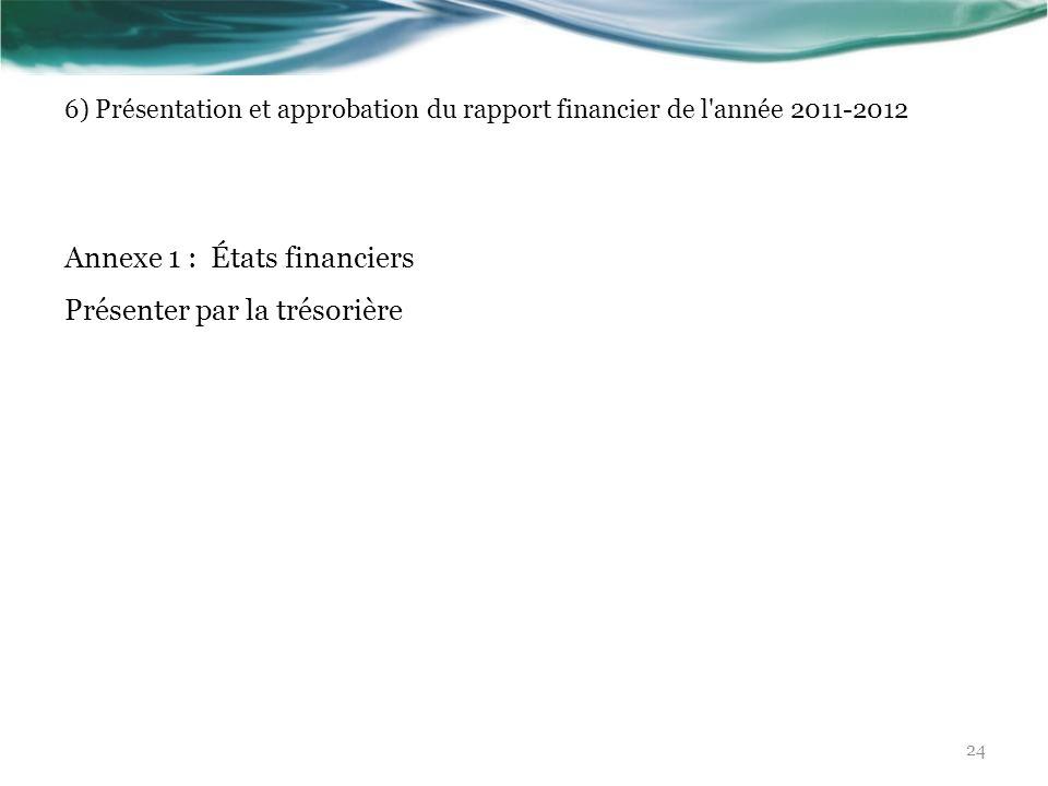 Annexe 1 : États financiers Présenter par la trésorière