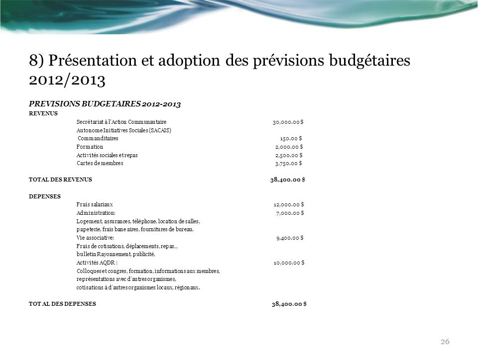 8) Présentation et adoption des prévisions budgétaires 2012/2013