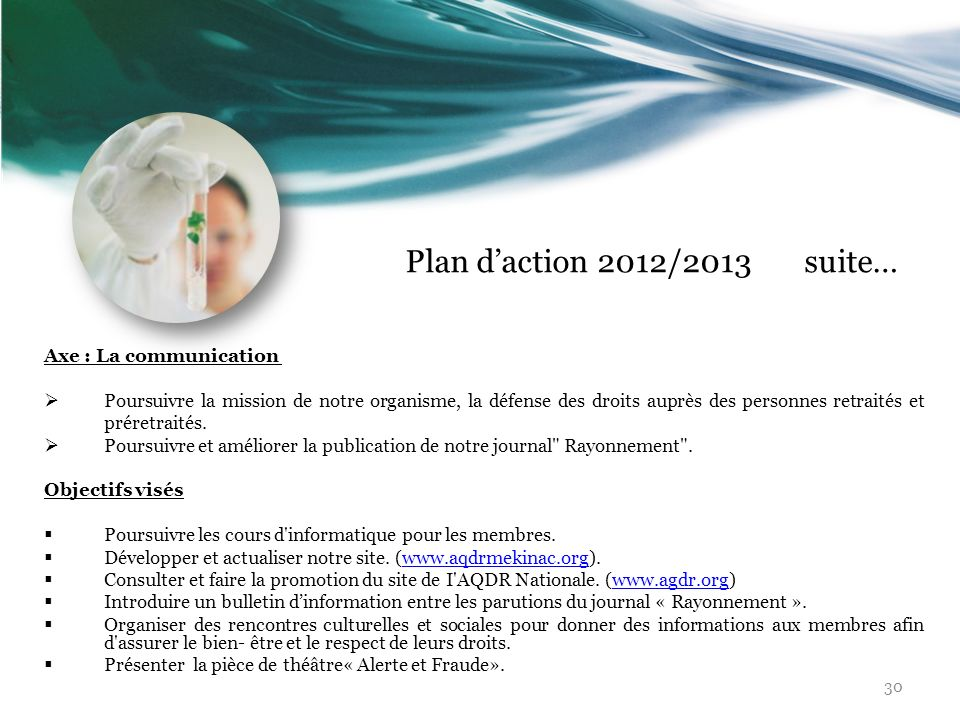 Plan d'action 2012/2013 suite… Axe : La communication