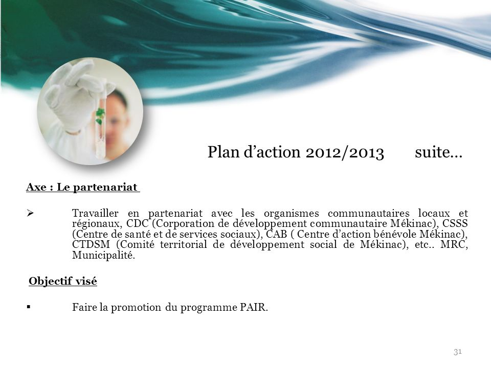Plan d'action 2012/2013 suite… Axe : Le partenariat