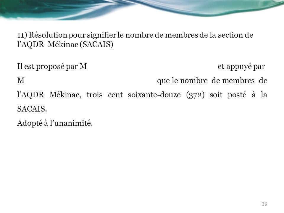 11) Résolution pour signifier le nombre de membres de la section de l'AQDR Mékinac (SACAIS)