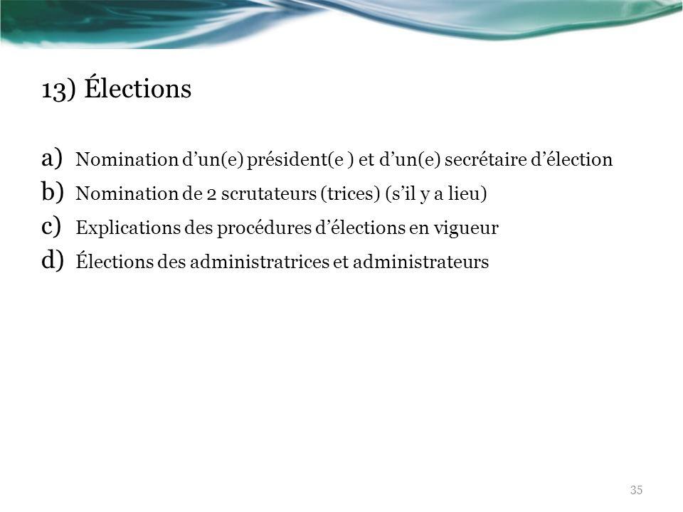 13) ÉlectionsNomination d'un(e) président(e ) et d'un(e) secrétaire d'élection. Nomination de 2 scrutateurs (trices) (s'il y a lieu)