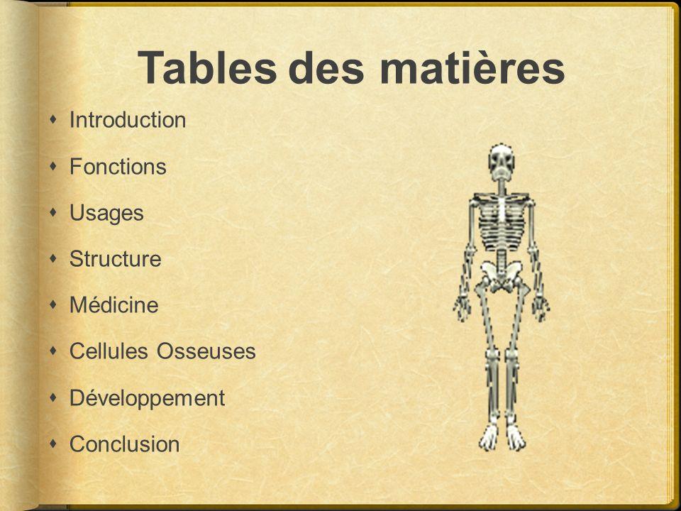 Tables des matières Introduction Fonctions Usages Structure Médicine