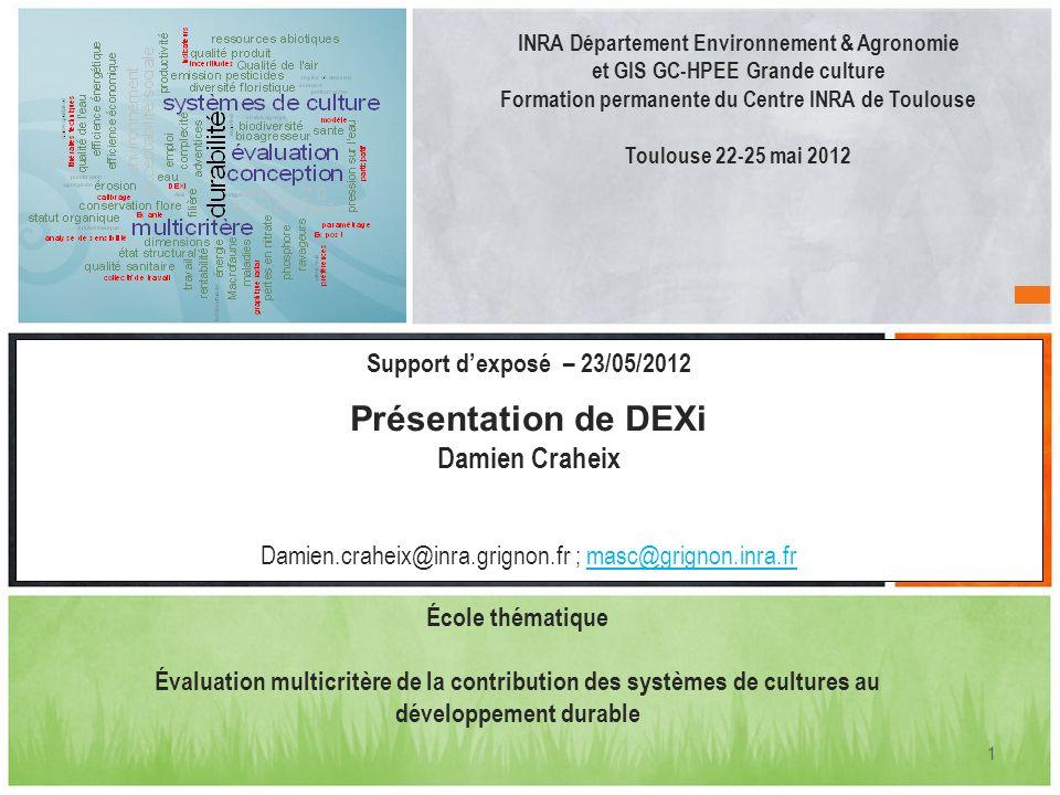 Présentation de DEXi Damien Craheix Support d'exposé – 23/05/2012