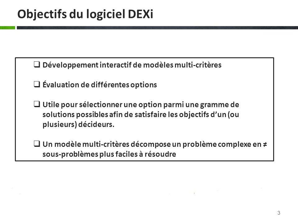 Objectifs du logiciel DEXi