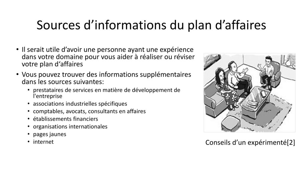 Sources d'informations du plan d'affaires