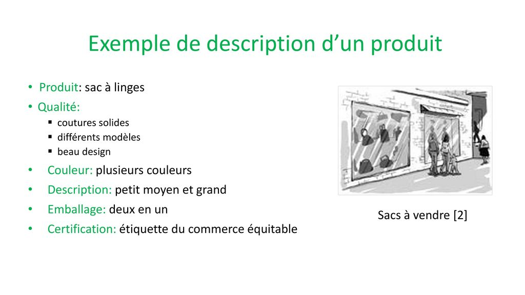Exemple de description d'un produit