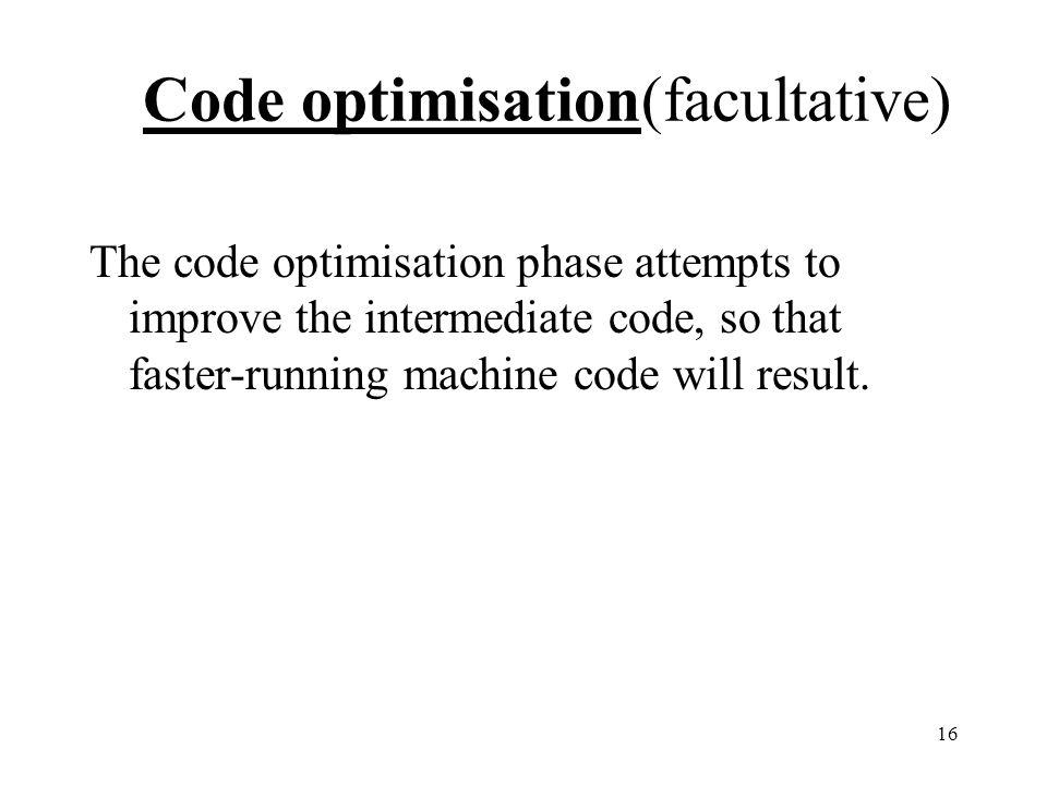 Code optimisation(facultative)