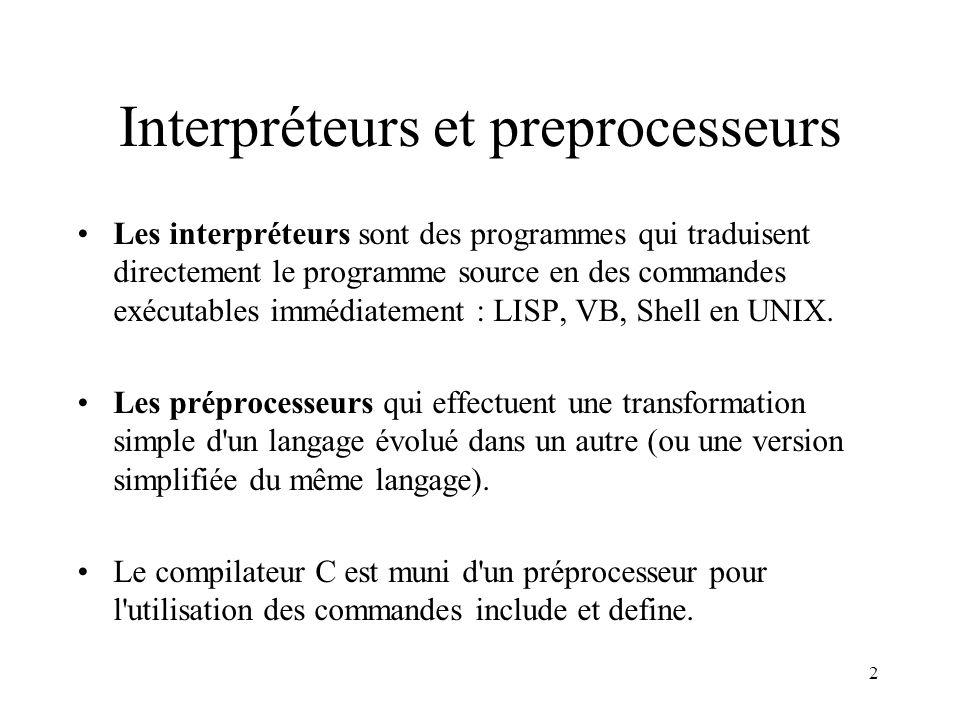 Interpréteurs et preprocesseurs